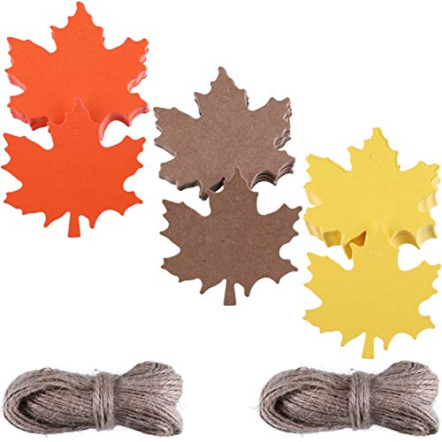 - Zhanmai 150 Pieces Maple Paper Tags Kraft Leaves Gift Tag with 131 Feet Natural Twine for Christmas Thanksgiving Holiday Birthday Wedding