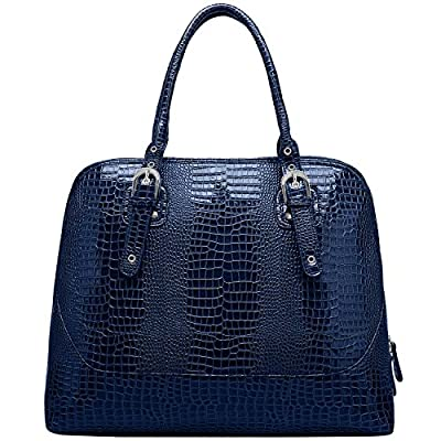 FASH Limited Crocodile Texture Embossed Doctor Style Top Handle cushioned Laptop Handbag with Large Compartment