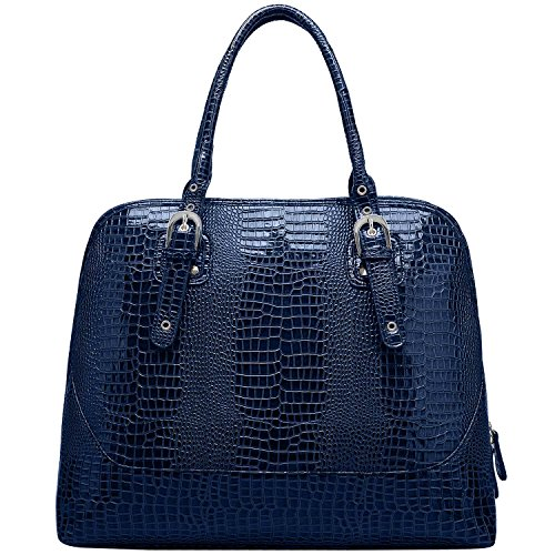 Print Large Shopper Handbag (FASH Limited Glossy Crocodile Print Embossed Doctor Style Top Handle Laptop)