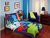Garanimals ''Dino-Mite'' Dinosaurs 4-piece Toddler Bedding Set, Blue and Red Comforter Set for Boys