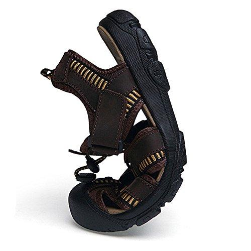 Sandali Flip Da Anti Flop Brown Casual Da Pelle In Sportivi Dimensioni Uomo Grandi Ciabatte Estive Outdoor Escursionismo Casual Pantofole Trekking Collisione Di Scarpe Donna SSUf6