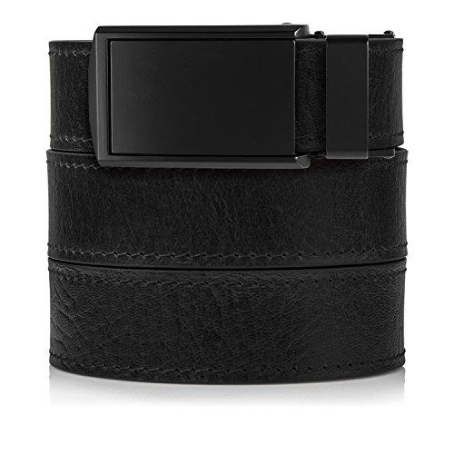 SlideBelts Men's Top Grain Leather Ratchet Belt - Black with Matte Black Buckle ()