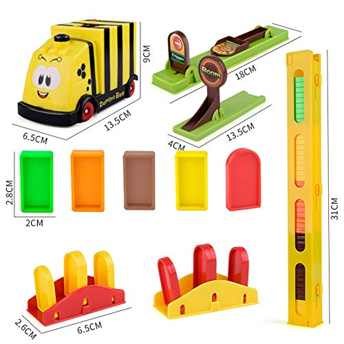OUYAWEI Toy Cars Children Educational Building Blocks Domino DIY Automatic Electric Simulation Train Bee Train