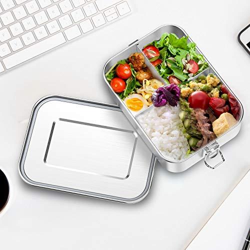 Auslaufsichere Brotdose aus Edelstahl, Bento-Box, Metall-Lunchbehälter mit 3 Fächern, Edelstahl brotdose 1200ml für Kinder oder Erwachsene, sicher ohne Kunststoff & BPA (1.2L)
