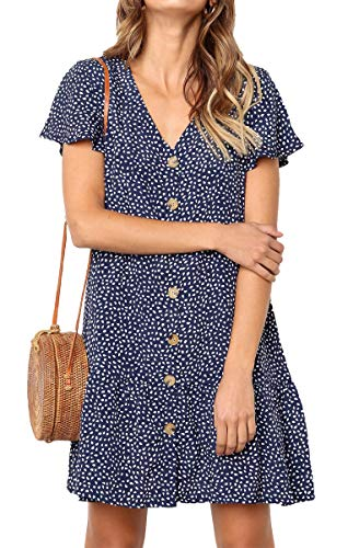 - GOCHIC Womens Polka Dot V Neck Button Down Casual Loose Swing Short Mini T-Shirt Dress Blue#1 M
