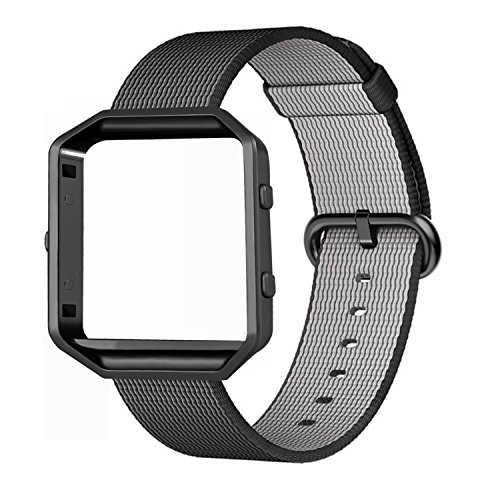 Fitbit Blaze Bands, FanTEK Woven Nylon Watch Band Strap Accessories with Metal Frame For Fitbit Blaze Smart Fitness Watch (Black)