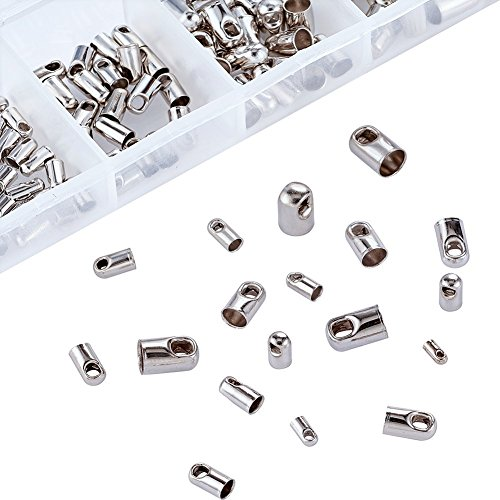 (Pandahall 1Box/180pcs Mixed Platinum Plated Brass Crimp Cord Ends Tip Glue on Barrel End Caps for Leather Tassel Nickel Free 4~8x2~5mm Multi Size )