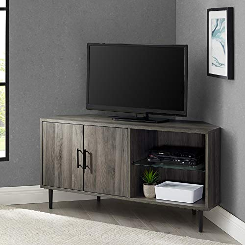 "Walker Edison Furniture Company AZ48NORCRSG 2 Door Glass Shelf Corner Stand Console, fits TVs up to 55"", 48, Slate Grey"