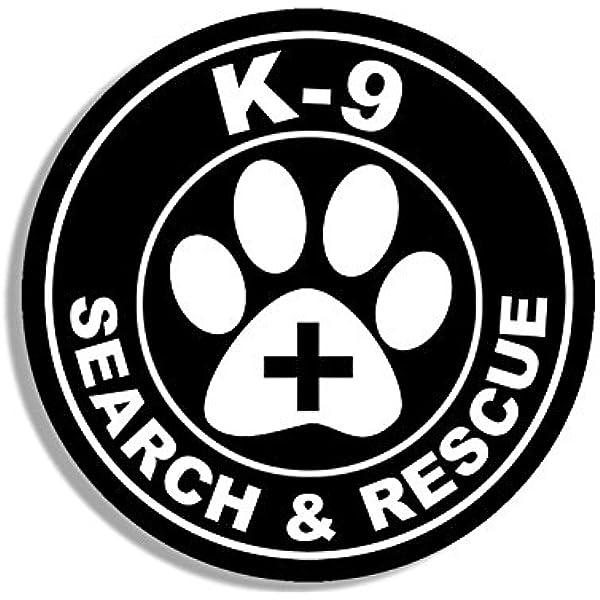Amazon.com: Round K9 Search and Rescue w/Paw Cross Sticker (k-9 Dog Logo  Insignia): Arts, Crafts & Sewing