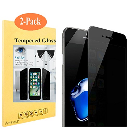 [2 Pack] Asstar iPhone 7 Plus Privacy Anti Spy Anti-Glare Ballistic Tempered Glass HD 2.5D Curve Edge Full Screen Protector 9H Hardness Shatter,Scratch,Fingerprint,Bubble Free for iPhone 7 Plus 5.5""
