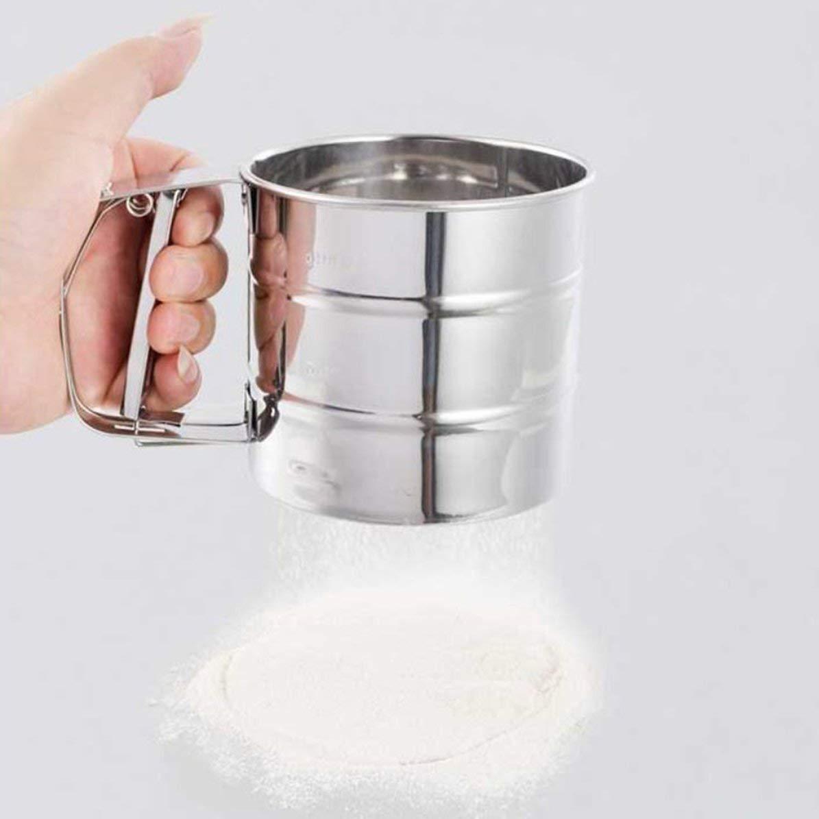 Qualit/à superiore Setaccio in acciaio inox Setaccio per farine a cottura meccanica Setaccio agitatore per zucchero a velo ghiacciatoStylish