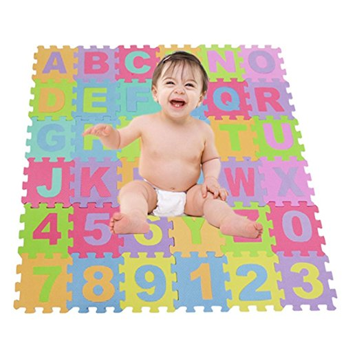 Aelove Alphabet & Numbers Soft Foam Play Puzzle Mats Children Kids Play Mat Puzzle Play Mats by Aelove