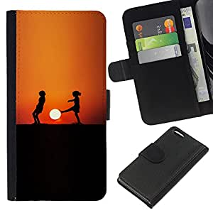 Stuss Case / Funda Carcasa PU de Cuero - Sunset Niños - Apple Iphone 5C