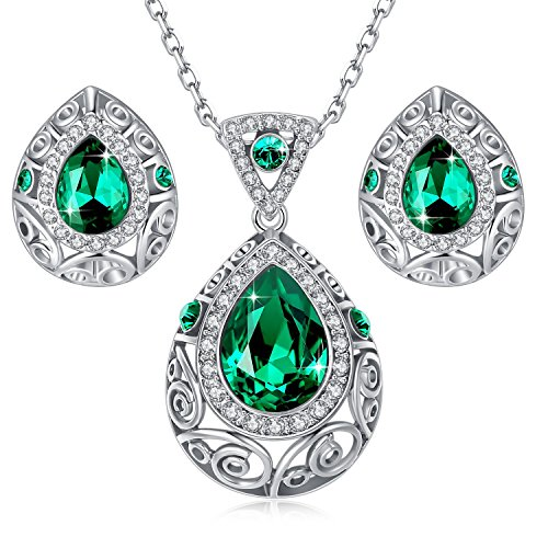 Leafael [Presented by Miss New York] Silver-Tone Teardrop Filigree Vintage Style Emerald Green Pendant Necklace Made with Swarovski Crystals Earrings Set, 18