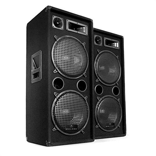 """Malone PW-2222 Set de Haut-parleurs Enceinte Passive à 3 Voies Performance 1000 Watt Max. subwoofer 2 x 30 cm (12 """") Enceinte Medium Tweeter Piezo Réponse de fréquence : 30 Hz à 18 kHz Noir JO-1200-loli"""