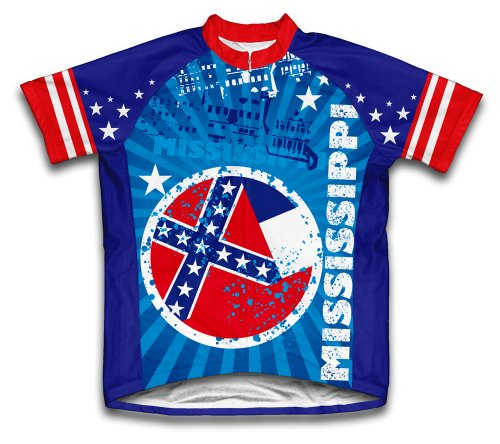 - ScudoPro Mississippi Short Sleeve Cycling Jersey for Men - Size 2XL Blue
