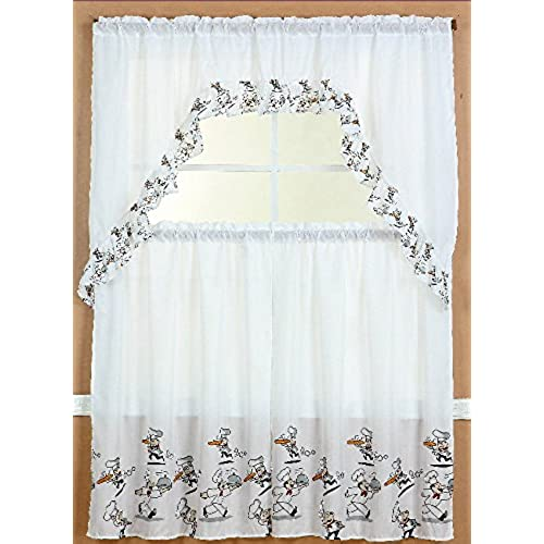 GorgeousHomeLinenDifferent Designs 3pc Kitchen Window Ruffle Rod Tier Curtains Swag Valance Set CHEF