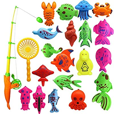 Yionloe Creative Baby Bathing Toy 22-Piece Magnetic Fishing Toy Set Bath Toys: Toys & Games