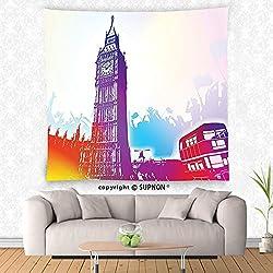 VROSELV custom tapestry London Tapestry Historical Big Ben and Bus Great Bell Clock Tower UK Europe Street Landmark Wall Hanging for Bedroom Living Room Dorm Purple Red Yellow