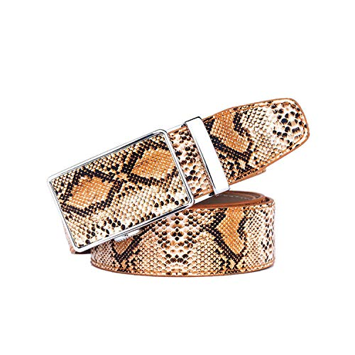 Genuine Leather Snake Grain Belt for Men Automatic buckle Strap Belts Luxury,brown,115CM ()