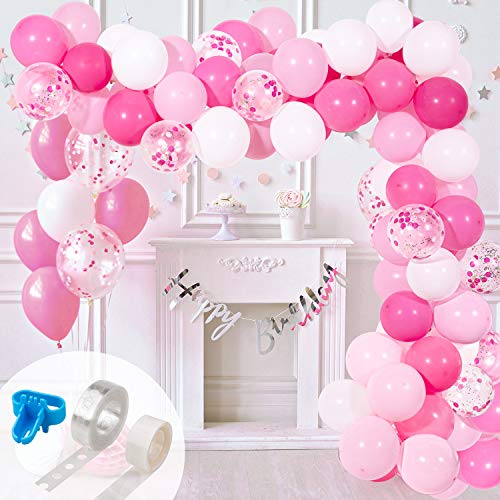 Sweet 16 Party Tape - Whaline Balloon Arch & Garland Kit, Pink Hotpink White Latex Balloons & Confetti Balloons Set with 16ft Balloon Strip Tape,1pcs Tying Tool and 100 Dot Glue for Wedding Birthday Baby Shower Party Decor