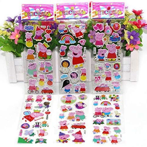 Chaoiwah Peppa Pig Sticker 3D Coloful Totally 5 Sheets per Pack-Peppa Pig]()