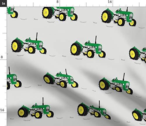 Green Tractor Fabric - Nursery Decor Farm Farming Vintage Machinery Gray John Deere Print on Fabric by The Yard - Sport Lycra for Swimwear Performance Leggings Apparel Fashion