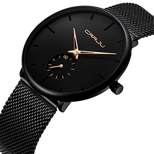 - Tamlee Mens Black Plated Slim Case Mesh Stainless Steel Band Waterproof Watches for Men (Black Gold Hands)