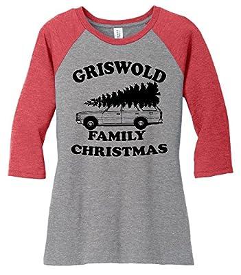 Comical Shirt Ladies Griswold Family Christmas Funny Xmas Holiday 3/4 Raglan