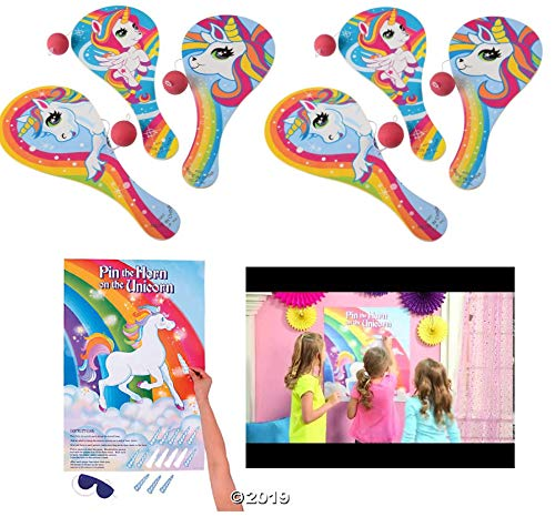 - Awesome UNICORN Party Games - 12 Paddleball Games & 1 Pin-The-Horn-On-The-Unicorn GAME- ACTIVITIES Art Crafts - GIRL Theme Parties