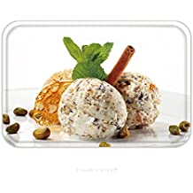 Flannel Microfiber Non-slip Rubber Backing Soft Absorbent Doormat Mat Rug Carpet Pistachio Ice Cream With Fresh Mint And Cinnamon Isolated On White Background 25347367 for Indoor/Outdoor/Bathroom/Kitc