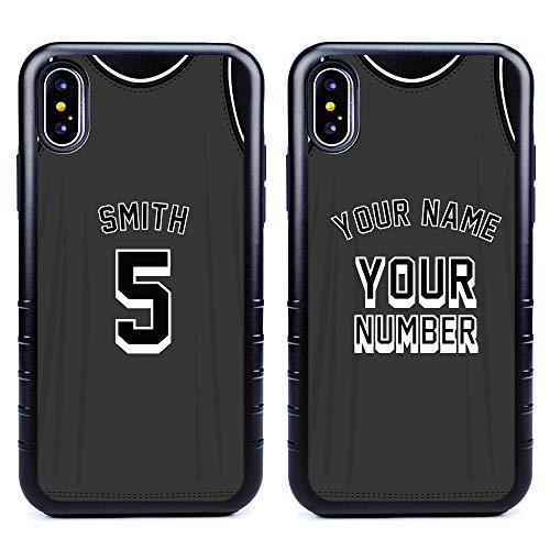 Custom Basketball Jersey Cases for iPhone X/XS by Guard Dog - Personalized Sports - Your Name and Number on a Protective Hybrid Phone Case. Incl.Guard Glass Screen Protector. (Black, Black)