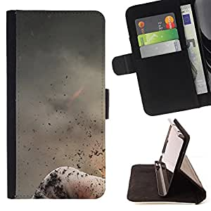 BullDog Case - FOR/Sony Xperia M2 / - / abstract volcano nature fire mountain ash /- Monedero de cuero de la PU Llevar cubierta de la caja con el ID Credit Card Slots Flip funda de cuer
