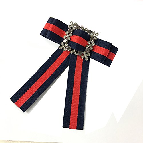 Rhinestore Crystal Dangle Wedding Party Bow Tie Women/Men Ribbon Pre Tied Neck Tie Adustable Brooch Pin Clip (Navy Blue 2)