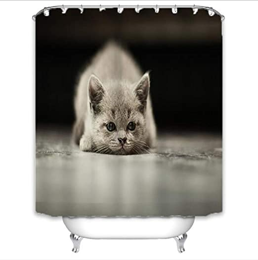 Cortina de baño Cute Cat 3D Impresora Digital Impermeable ...