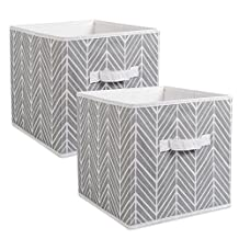 """DII Foldable Fabric Storage Containers for Nurseries, Offices, Closets, Home Decor, Cube Organizers & Everyday Storage Needs, (Large - 11 x 11 x 11"""") Herringbone Gray - Set of 2"""