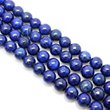 Ruilong Natural Color Genuine Blue Lapis Lazuli Real Gemstone Loose Beads for Necklace Jewelry Making (8MM)