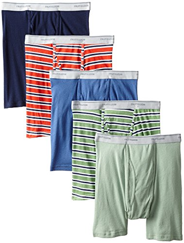 Fruit of the Loom Men's No Ride Up Boxer Brief, Stripe/Solid - Traditional Fly, X-Large ()