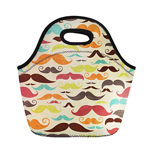 Semtomn Lunch Bags Hair Hipster Mustashe in Vintage Barber Party Aristocrat Beard Neoprene Lunch Bag Lunchbox Tote Bag Portable Picnic Bag Cooler Bag