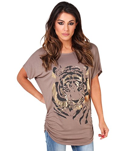 Tiger Print T-shirt (Mocha, 4),[2093-MOC-08] (Tiger Print Top)