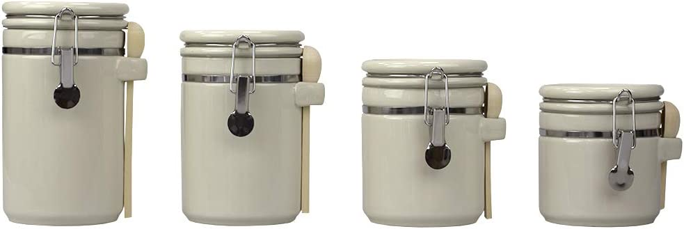 Home Basics (Beige) 4PC Ceramic Canister Set W/Spoon