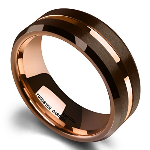 King Will DUO 8mm Brown Brushed Tungsten Carbide Wedding Band Ring Thin Rose Gold Groove Comfort Fit 11 by King Will (Image #1)