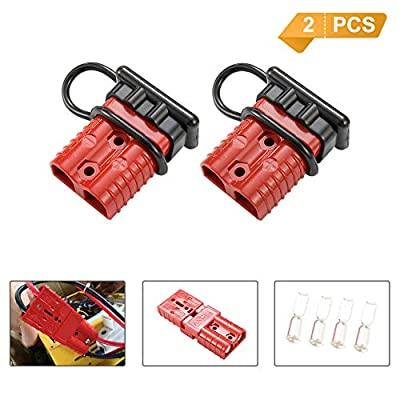 BUNKER INDUST Battery Quick Connect Wire Harness Plug Kit 175A 1/0AWG Battery Cable Quick Connect Disconnect Plug for Winch Auto Car Trailer Driver Electrical Devices,2 Pcs,Red