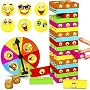 ShooBacK Tumbling Stacking Color Blocks for Kids 51 Pcs Plus Roulette and 2 Dices,Wooden Colored Toppling Stac