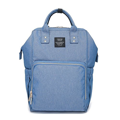 Waterproof Mummy Bag Baby Water Feeding Bottle Portable Nappy Diaper Bag Backpack Large Capacity (Blue) by Spencer