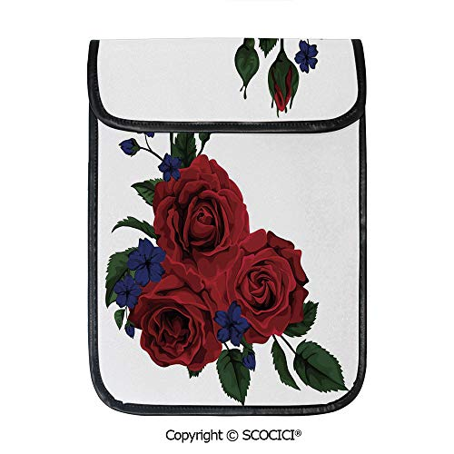 SCOCICI Tablet Sleeve Bag Case,Blooming Red Roses with Gentle Wild Flowers Leaves Bouquet Corsage Decorative,Pouch Cover Cases for iPad Pro 12.9 in and Any Tablet