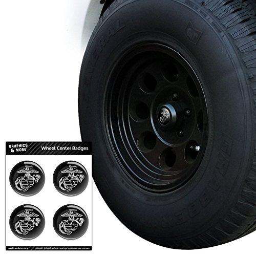 - Graphics and More Marines USMC White on Black Eagle Globe Anchor Logo Officially Licensed Tire Wheel Center Cap Resin-Topped Badges Stickers - 1.8