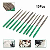 10Pcs 7inch Professional Diamond Coating Needle File Set Craft Tools for Grinding Deburing and Fixing Chipped Glass, Mirror, Tile, Ceramics 5x180mm