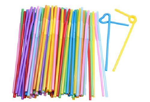 100 Pcs Flexible Plastic Bendy Mixed Colours Party Disposable Drinking Straws Kids Birthday Wedding Decoration Event Supplies