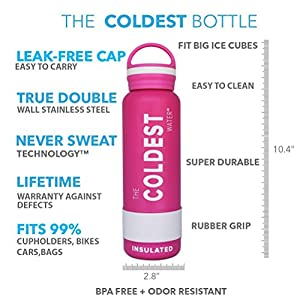 The Coldest Water Sports Bottle Insulated Stainless Steel Hydro Thermos, Athletic Pink, 21 Ounce